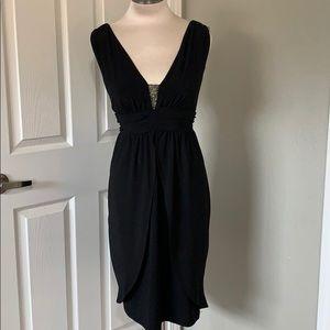 Black & Silver Beaded Tulip Style Formal Dress